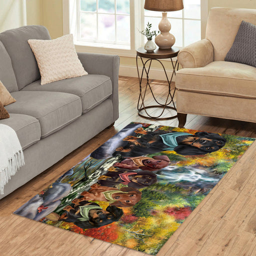 Scenic Waterfall Dachshund Dogs Area Rug