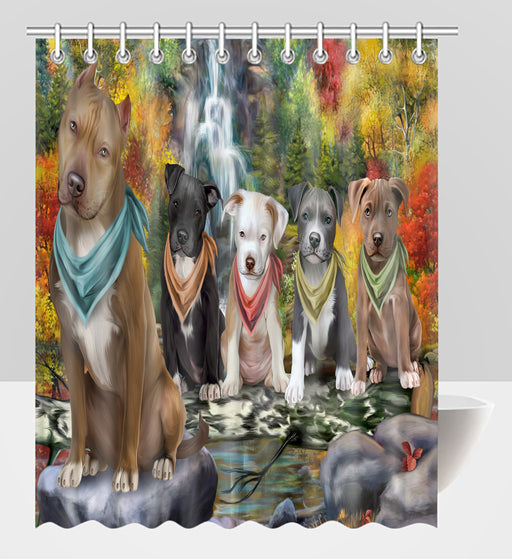 Scenic Waterfall Pitbull Dogs Shower Curtain