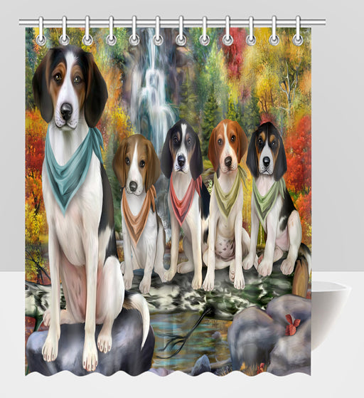 Scenic Waterfall Treeing Walker Coonhound Dogs Shower Curtain
