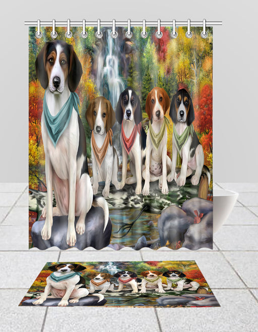 Scenic Waterfall Treeing Walker Coonhound Dogs Bath Mat and Shower Curtain Combo