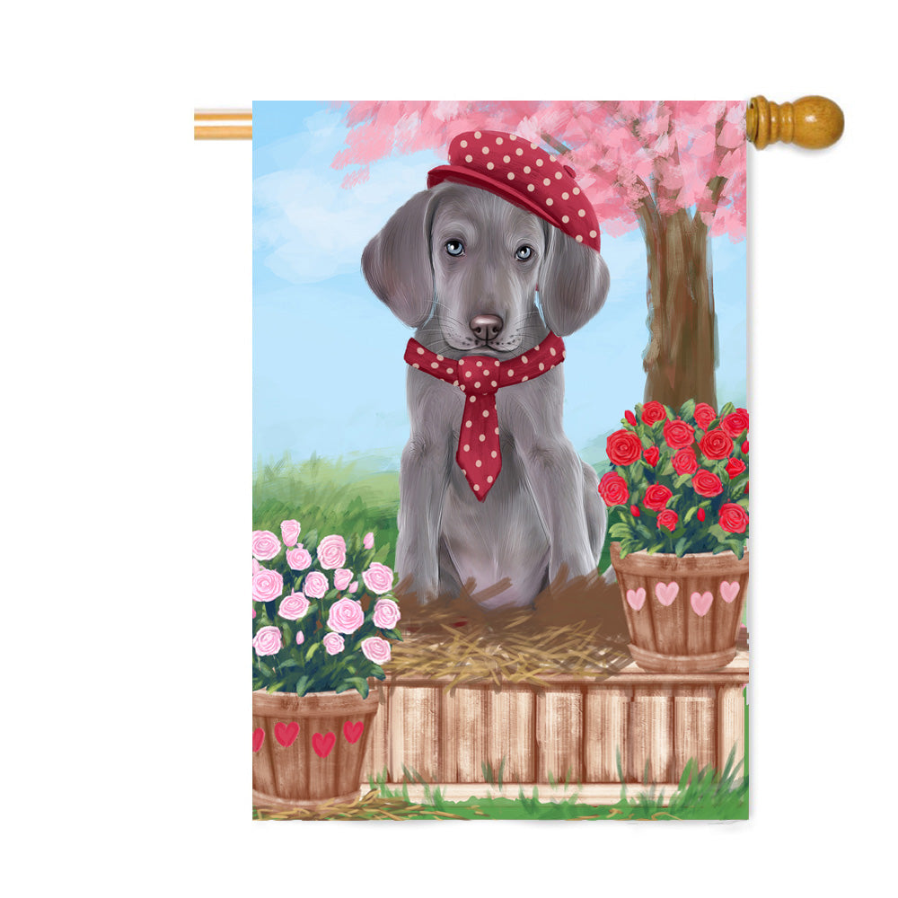 Personalized Rosie 25 Cent Kisses Weimaraner Dog Custom House Flag FLG64969