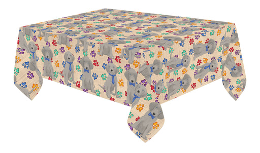 Rainbow Paw Print Weimaraner Dogs Blue Cotton Linen Tablecloth