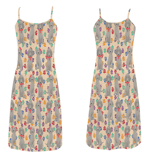 Rainbow Paw Print Weimaraner Dogs Red Alcestis Slip Dress