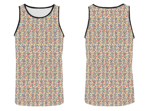Rainbow Paw Print Weimaraner Dogs Red All Over Print   Men's Tank Top