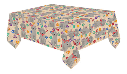Rainbow Paw Print Weimaraner Dogs Red Cotton Linen Tablecloth
