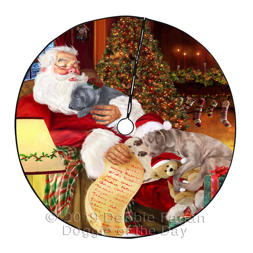 Santa Sleeping with Weimaraner Dogs Christmas Tree Skirt