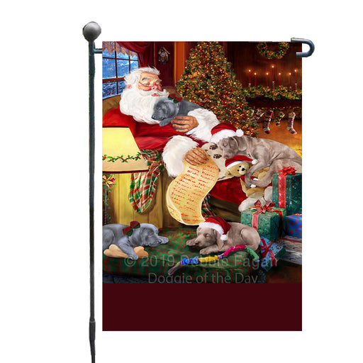 Personalized Weimaraner Dogs and Puppies Sleeping with Santa Custom Garden Flags GFLG-DOTD-A62678