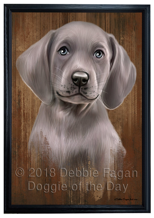 Rustic Weimaraner Dog Framed Canvas Print Wall Art BRFRMCVS75064