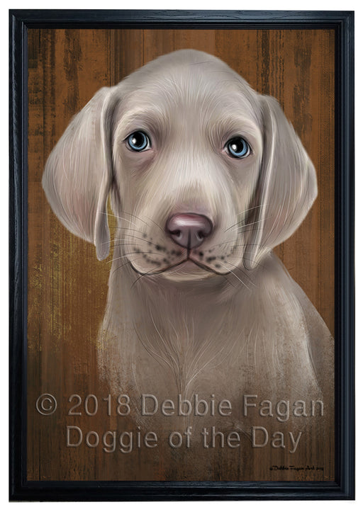 Rustic Weimaraner Dog Framed Canvas Print Wall Art BRFRMCVS75081