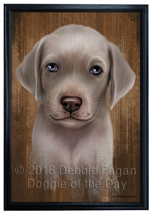 Rustic Weimaraner Dog Framed Canvas Print Wall Art BRFRMCVS75098