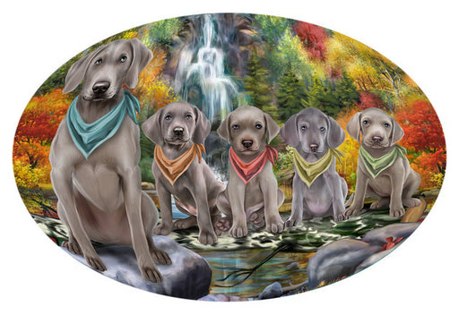 Scenic Waterfall Weimaraners Dog Oval Envelope Seals OVE63940