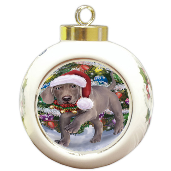Trotting in the Snow Weimaraner Dog Round Ball Christmas Ornament RBPOR54731