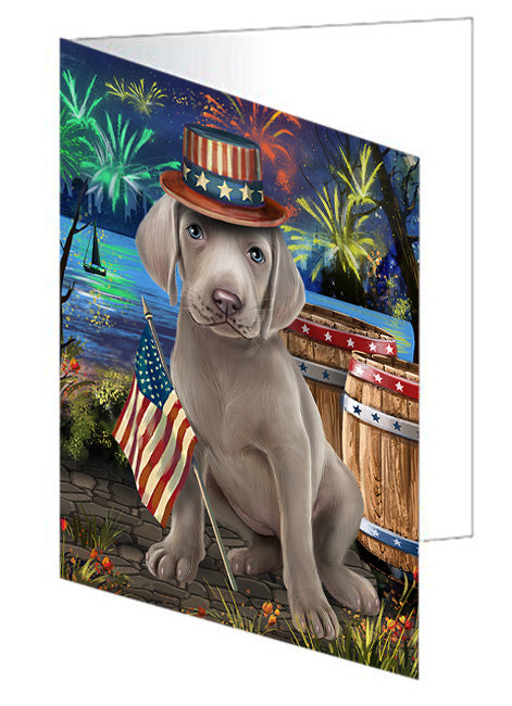 4th of July Independence Day Fireworks Weimaraner Dog at the Lake Note Card NCD57782