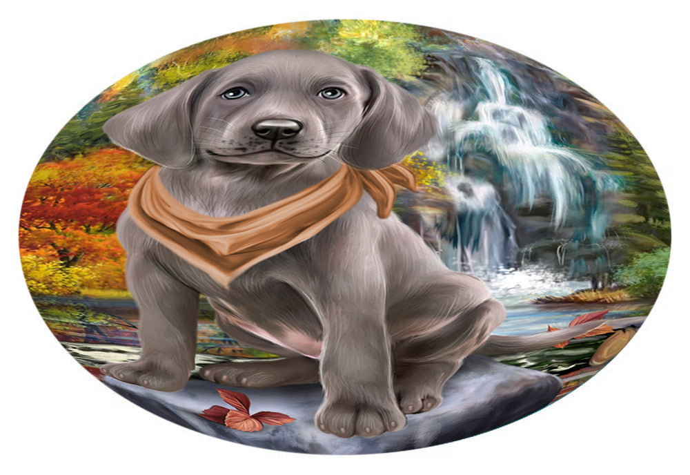 Scenic Waterfall Weimaraner Dog Oval Envelope Seals OVE63956