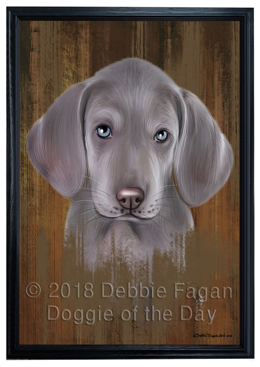 Rustic Weimaraner Dog Framed Canvas Print Wall Art BRFRMCVS75115