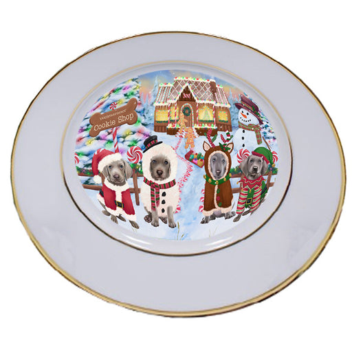 Holiday Gingerbread Cookie Shop Weimaraners Dog Porcelain Plate PLT54979