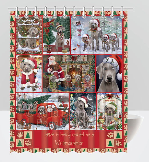 Love is Being Owned Christmas Weimaraner Dogs Shower Curtain
