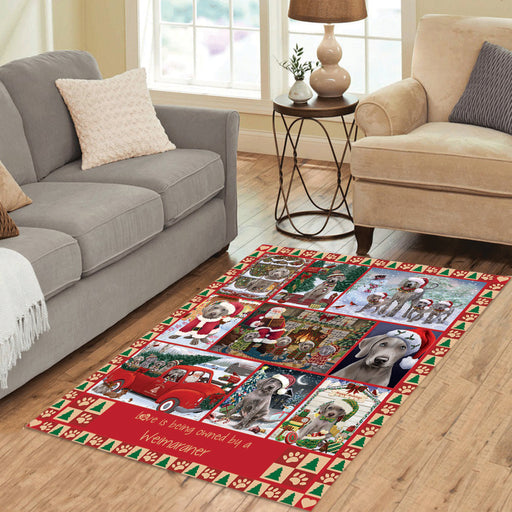 Love is Being Owned Christmas Weimaraner Dogs Area Rug