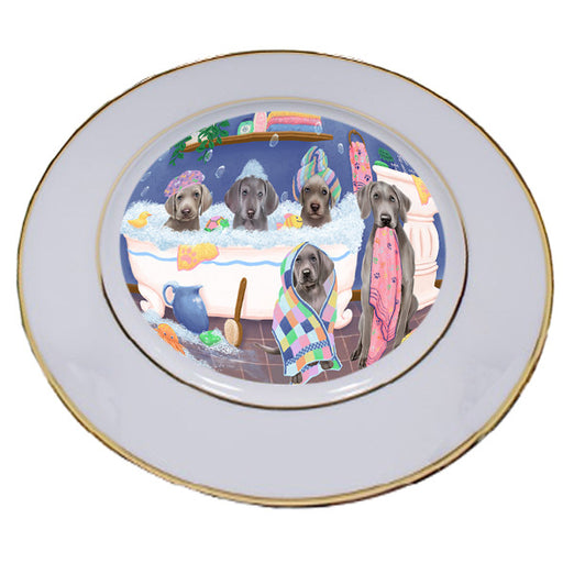 Rub A Dub Dogs In A Tub Weimaraners Dog Porcelain Plate PLT55182
