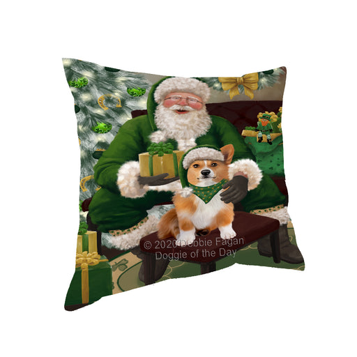 Christmas Irish Santa with Gift and Welsh Corgi Dog Pillow PIL87004