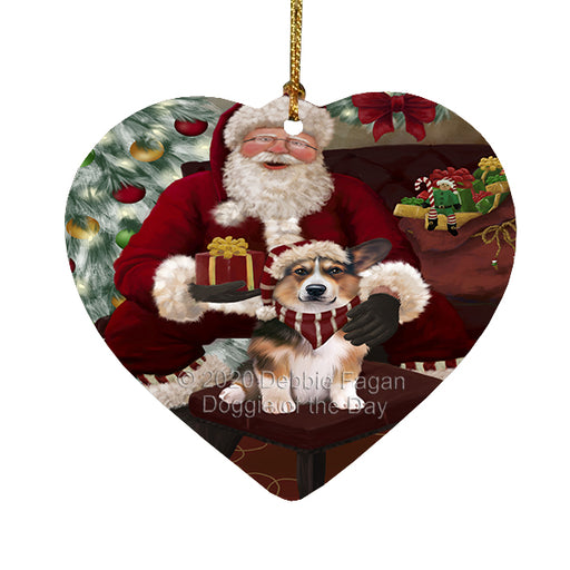 Santa's Christmas Surprise Welsh Corgi Dog Heart Christmas Ornament RFPOR58421