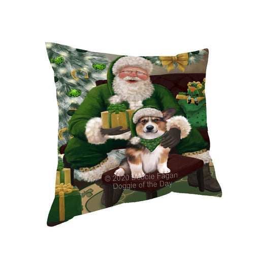 Christmas Irish Santa with Gift and Welsh Corgi Dog Pillow PIL87008