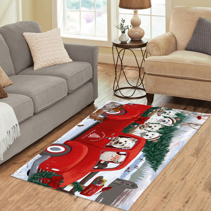 Christmas Santa Express Delivery Red Truck West Highland Terrier Dogs Area Rug