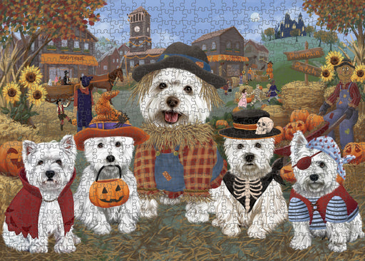 Halloween 'Round Town West Highland Terrier Dogs Puzzle with Photo Tin PUZL98828