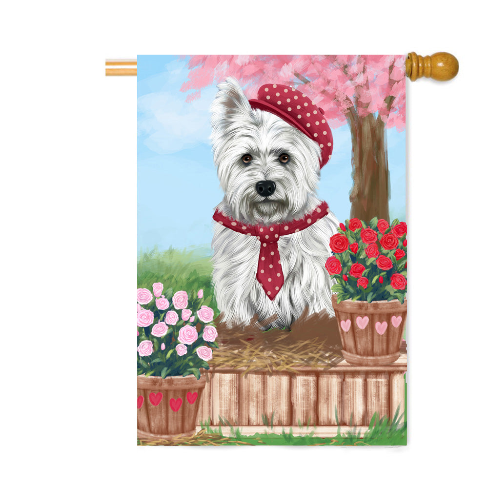 Personalized Rosie 25 Cent Kisses West Highland Terrier Dog Custom House Flag FLG64970