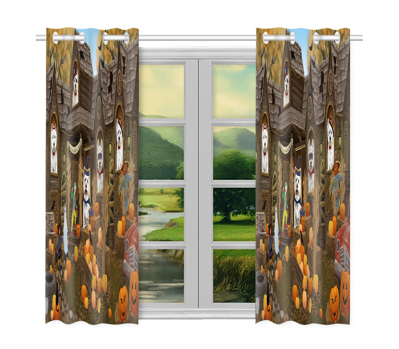 Haunted House Halloween Trick or Treat West Highland Terrier Dogs Window Curtain