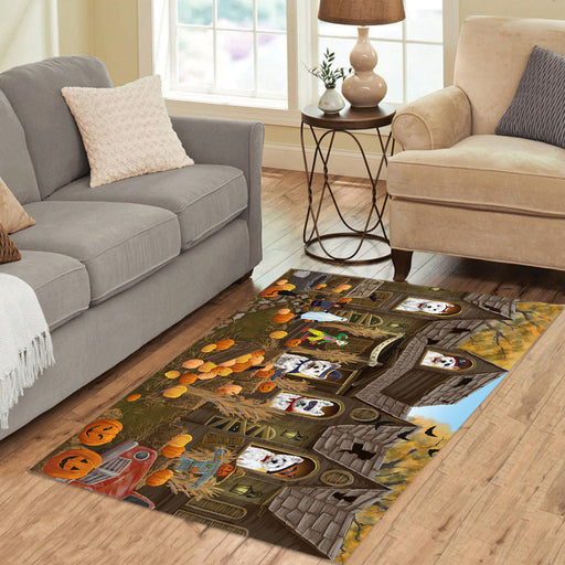 Haunted House Halloween Trick or Treat West Highland Terrier Dogs Area Rug