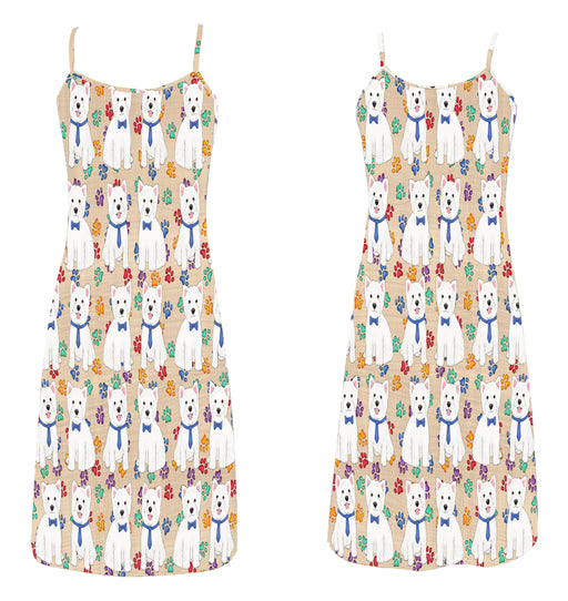 Rainbow Paw Print West Highland Terrier Dogs Blue Alcestis Slip Dress
