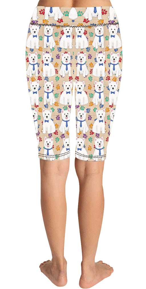 Rainbow Paw Print West Highland Terrier Dogs Blue Knee Length Leggings