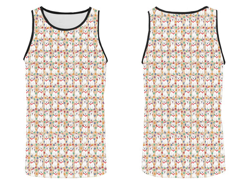 Rainbow Paw Print West Highland Terrier Dogs Red All Over Print   Men's Tank Top