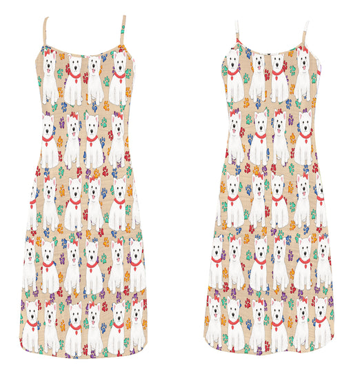 Rainbow Paw Print West Highland Terrier Dogs Red Alcestis Slip Dress