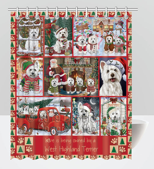 Love is Being Owned Christmas West Highland Terrier Dogs Shower Curtain