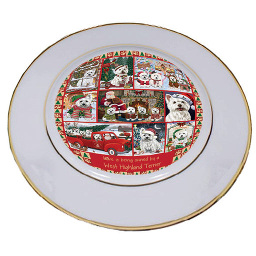 Love is Being Owned Christmas West Highland Terrier Dogs Porcelain Plate PLT57314