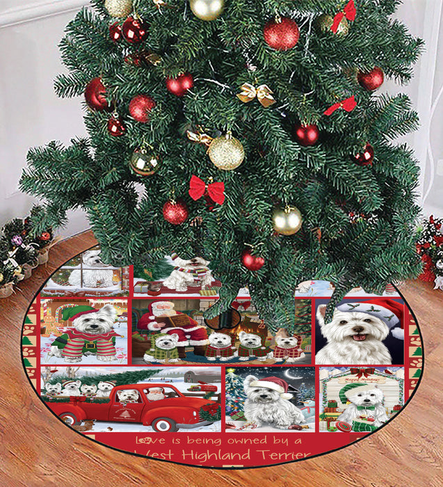 Love is Being Owned Christmas West Highland Terrier Dogs Tree Skirt