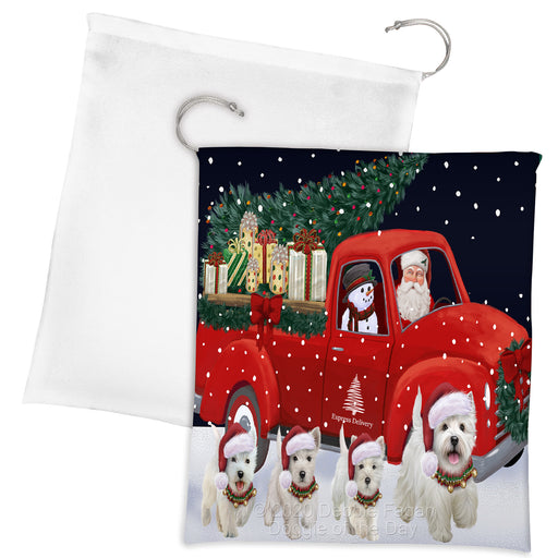 Christmas Express Delivery Red Truck Running West Highland Terrier Dogs Drawstring Laundry or Gift Bag LGB48940