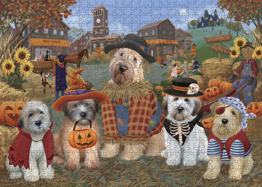 Halloween 'Round Town Wheaten Terrier Dogs Puzzle with Photo Tin PUZL98832