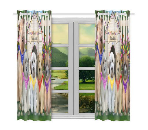 Spring Dog House Wheaten Terrier Dogs Window Curtain