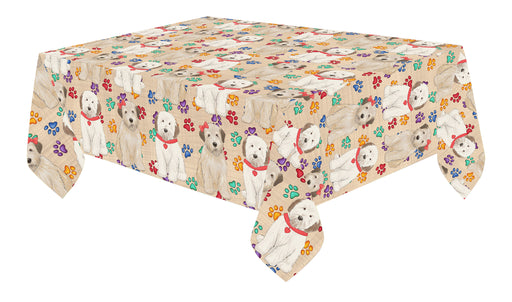 Rainbow Paw Print Wheaten Terrier Dogs Red Cotton Linen Tablecloth
