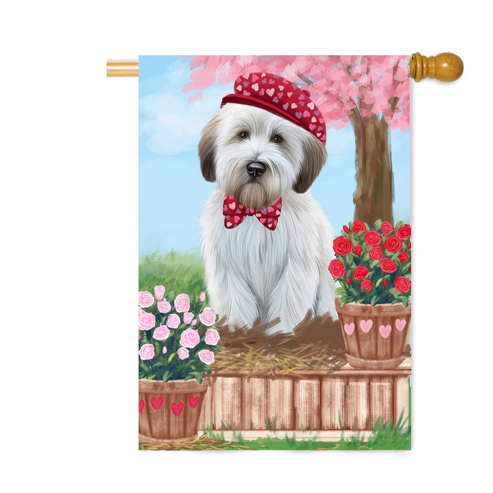 Personalized Rosie 25 Cent Kisses Wheaten Terrier Dog Custom House Flag FLG64971
