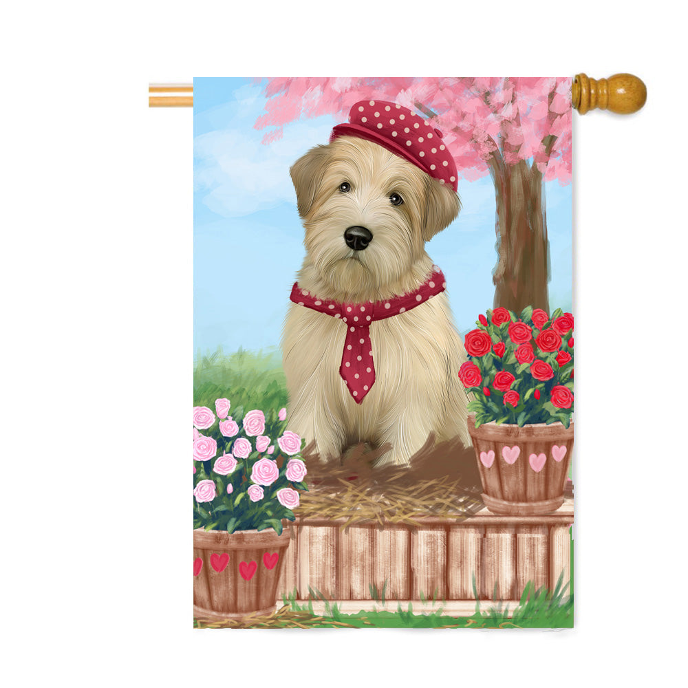 Personalized Rosie 25 Cent Kisses Wheaten Terrier Dog Custom House Flag FLG64973