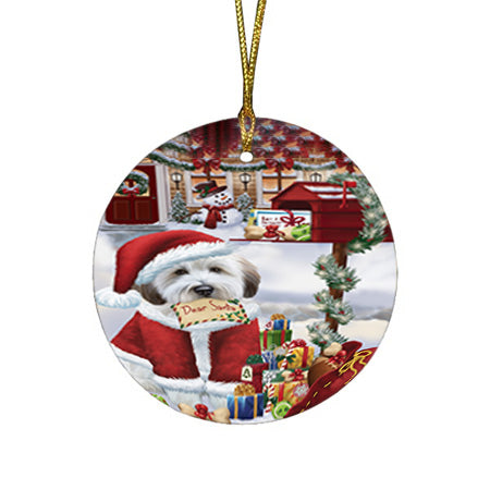 Wheaten Terrier Dog Dear Santa Letter Christmas Holiday Mailbox Round Flat Christmas Ornament RFPOR53549