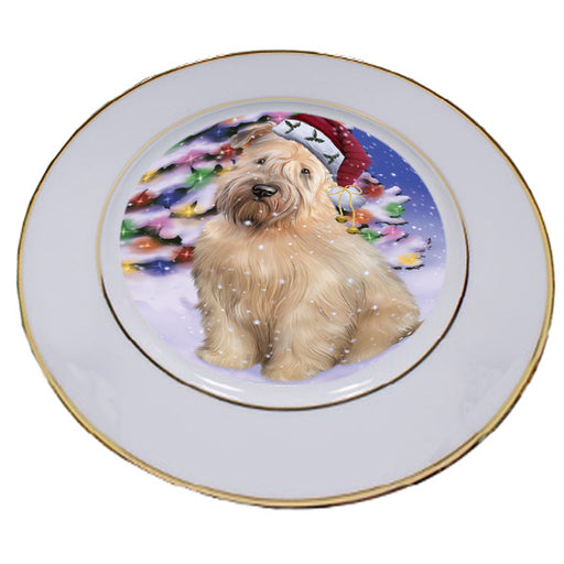 Winterland Wonderland Wheaten Terrier Dog In Christmas Holiday Scenic Background Porcelain Plate PLT55709