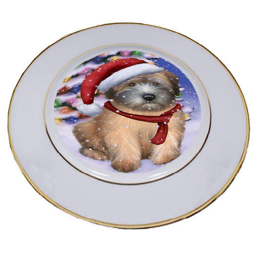 Winterland Wonderland Wheaten Terrier Dog In Christmas Holiday Scenic Background Porcelain Plate PLT55710