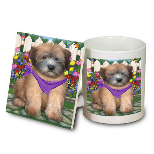 Spring Floral Wheaten Terrier Dog Mug and Coaster Set MUC52224