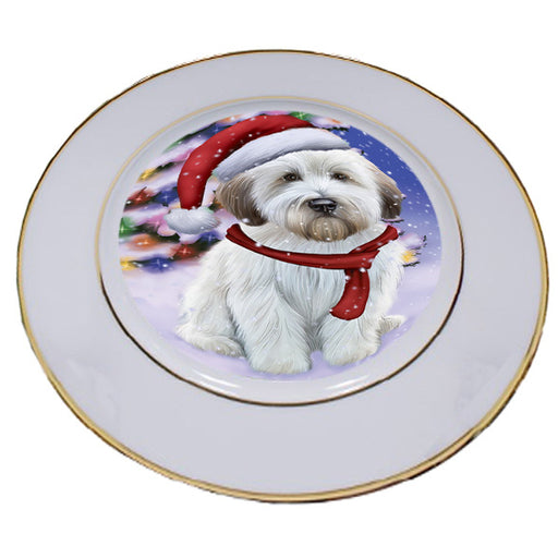 Winterland Wonderland Wheaten Terrier Dog In Christmas Holiday Scenic Background Porcelain Plate PLT55711