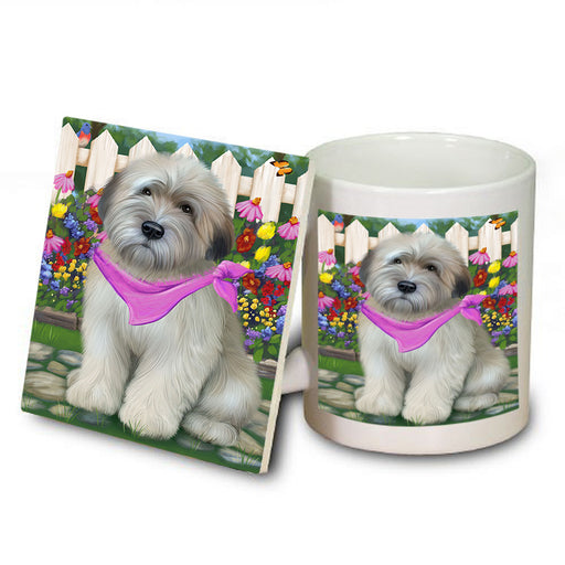 Spring Floral Wheaten Terrier Dog Mug and Coaster Set MUC52225